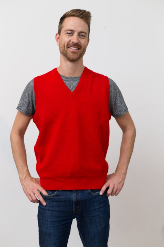 Vintage Red Sweater Vest - XL Warren Sweaters - Solid Knit Medium Size Polyester Christmas Pullover Vest for Him