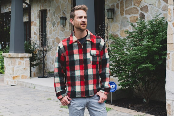 Vintage Plaid Jacket - Men's Large Woolrich  Zip-Up Wool Bomber Coat - Lumberjack Fall Autumn Warm Outdoor Fall Winter Jacket