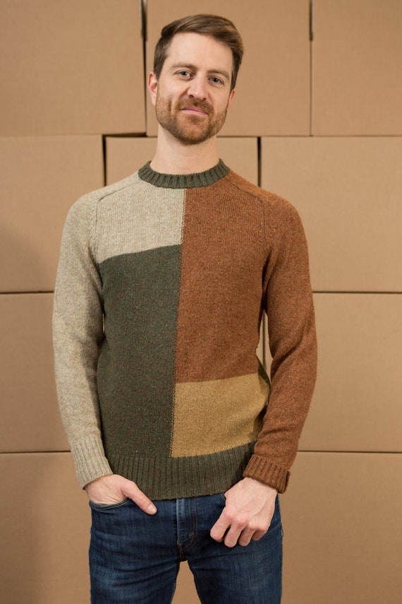 Vintage Color Block Sweater - Men's Retro Abstract Knit - Medium Size pullover Crew Neck Jumper for Him - Christmas Dad Sweater