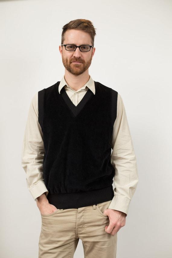 Vintage Teachers Vest - Men's Medium Size Black Velour Pullover Sweater Vest - Retro Soft Vest