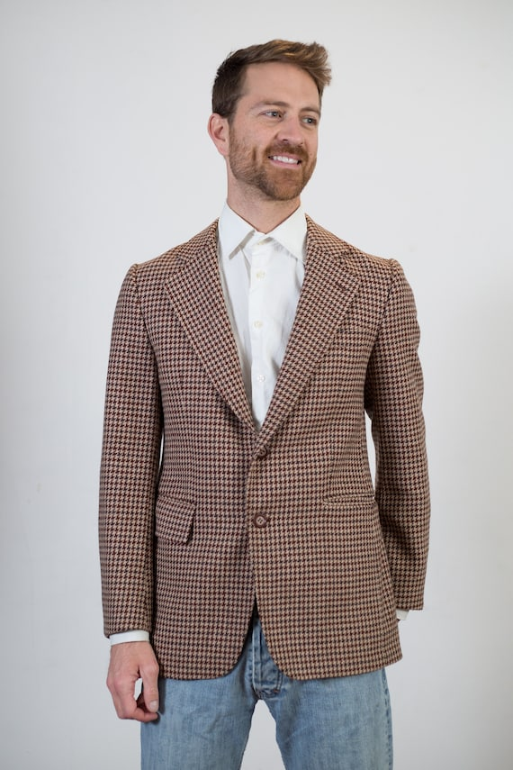 Vintage Houndstooth Blazer - Brown Retro Mens Medium Size Sports Coat Jacket