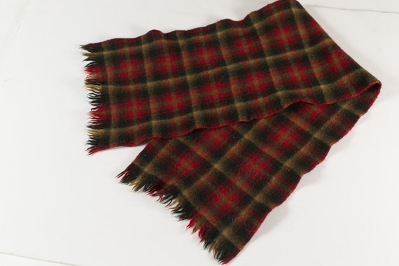 VIntage Winter Scarf - Small Size Plaid Scarf with Fringe - Unisex Tartan Knit Canadian Scarf - Snowmobiling, Ice Skating, Snowboarding