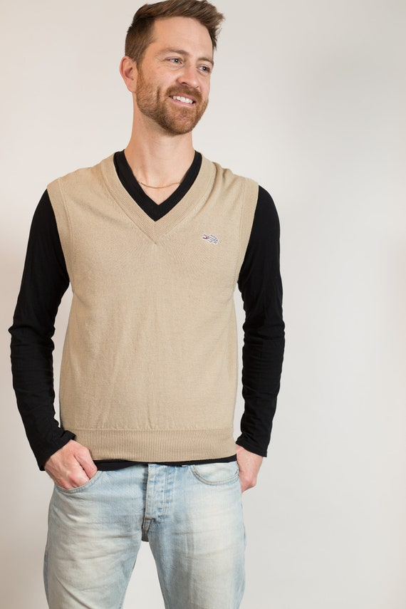 Vintage Beige Vest - Men's Medium Size Knit Brown Wool Pullover Sweater Vest - Retro Soft Vest