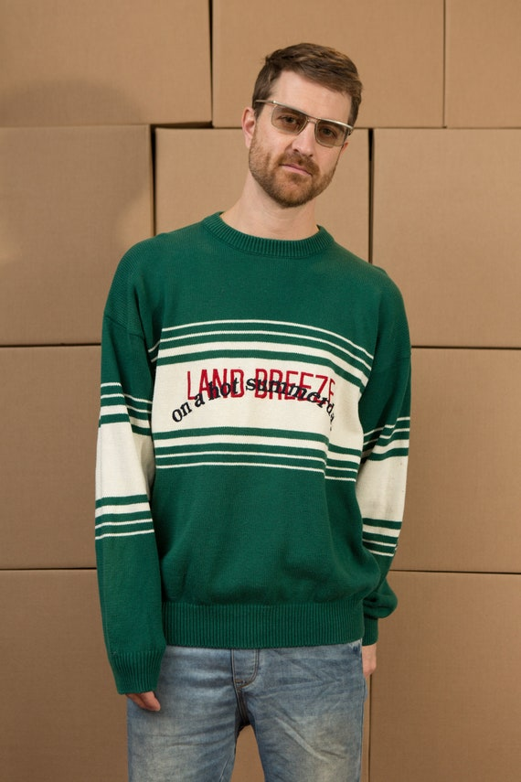 Vintage Green Sweater - Men's Land Breeze Knit - Large Size  pullover Crew Neck Jumper for Him - Christmas Dad Sweater - Oversized Graphic