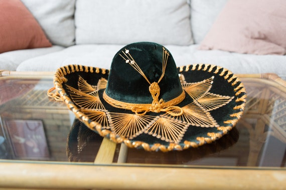 Vintage Sombrero - Large Green Velour Mexican Hat - Puerto Vallarta Hat - Mexican Food Restaurant Decor - Southwest Cowboy Hat