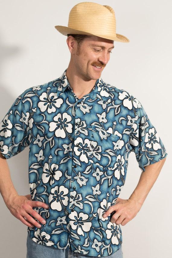 Vintage Blue Hawaiian Shirt - Medium Size Men's Button up Casual Short Sleeved White Fauna and Floral Tiki Aloha Summer Tropical Beach Shirt