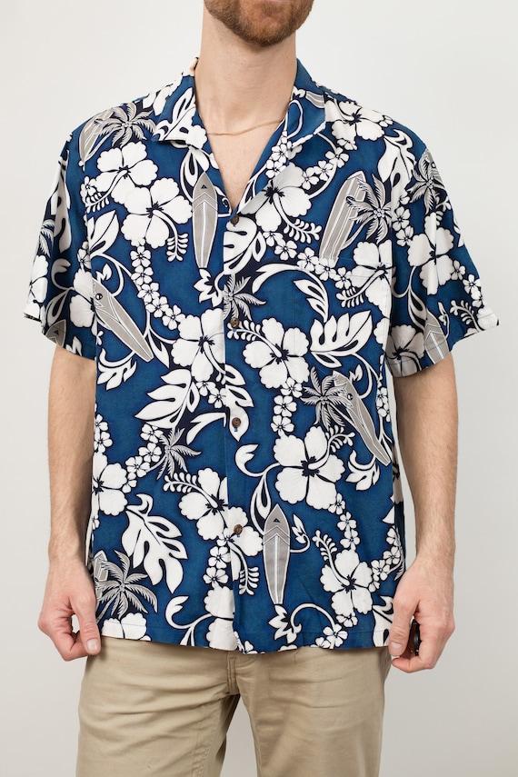 Vintage Blue Hawaiian Shirt - Large Size Men's Button up Casual Short Sleeved Fauna and Floral Tiki Aloha Summer Tropical Beach Shirt