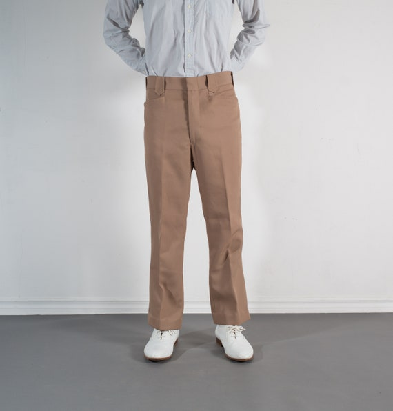 Vintage Mens Tan Brown Trousers - W34 Dress Pants / 80's Slacks