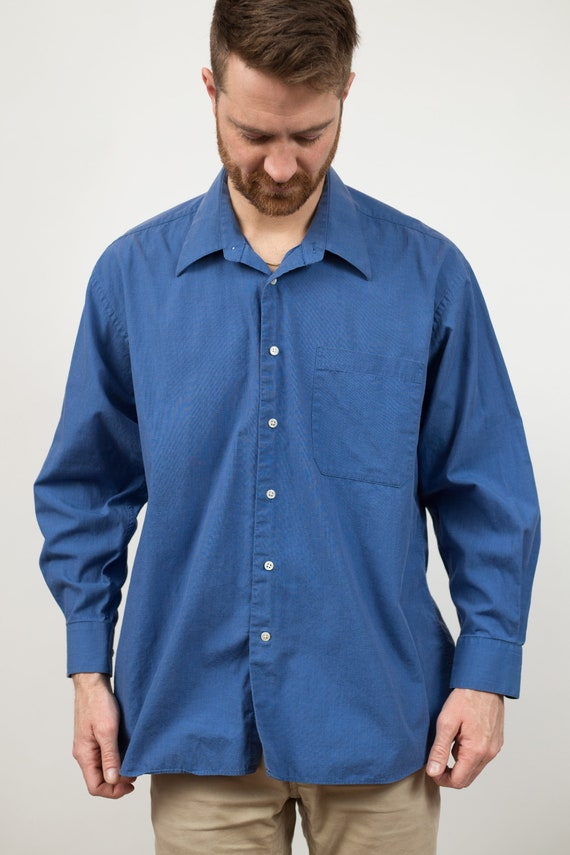Vintage Blue Shirt - Men's Large size Button Down Christian Dior Tag Colored Shirt - Solid Office Formal Long Sleeved Dress shirt