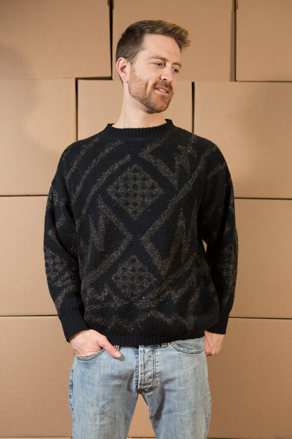Vintage Men's Sweater - Large Size Grey, Black Pullover - Polyester Geometric Pattern - Preppy 80's Sweater