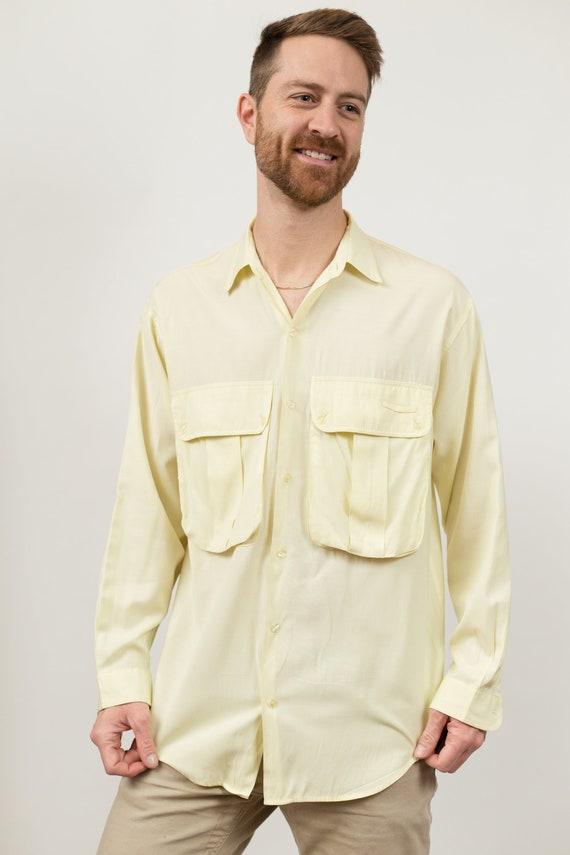 Vintage Yellow Shirt - Men's Medium Button Down Ye