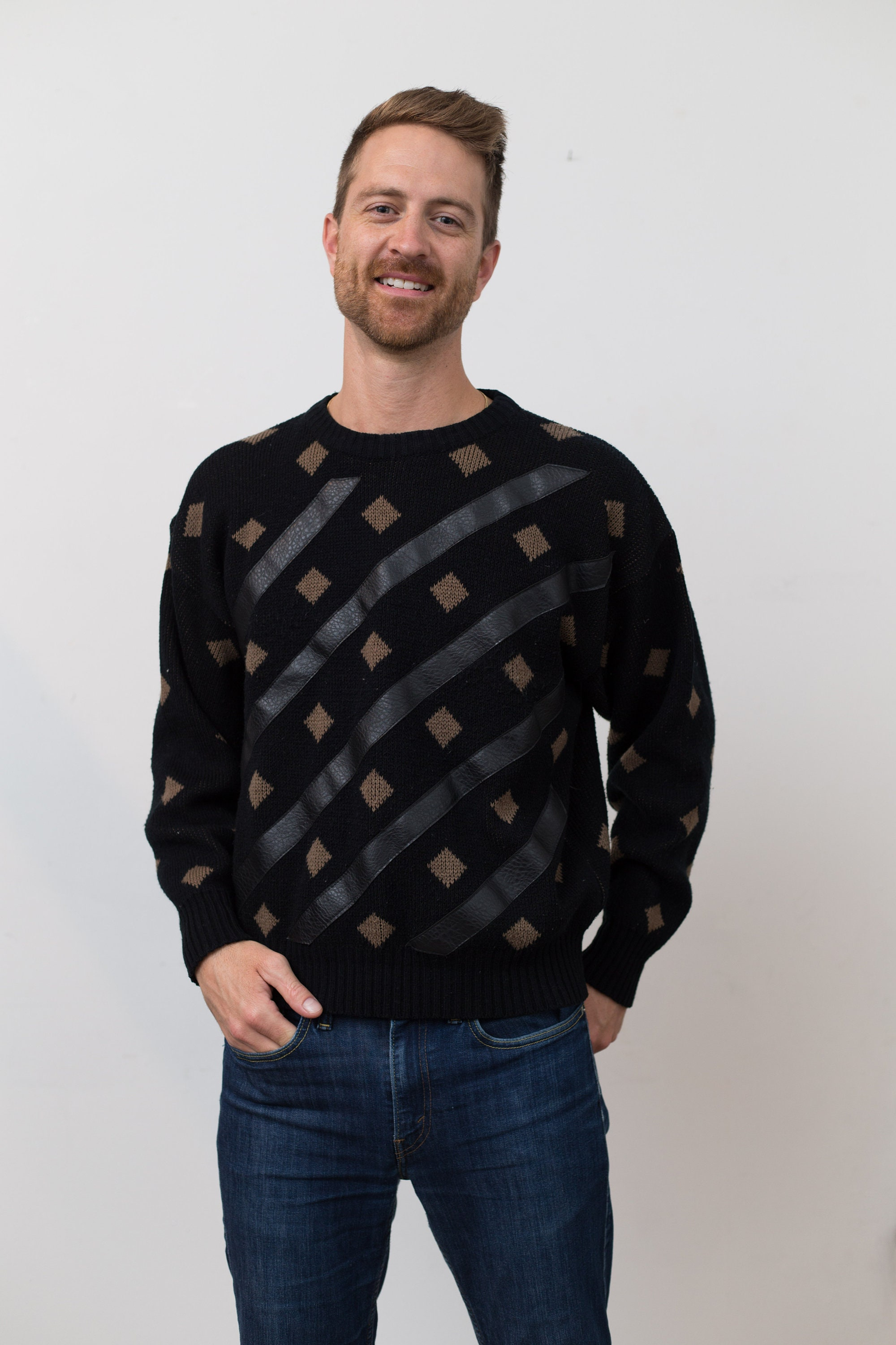 9ad92847b41 Vintage Bongo Sweater - Black and Brown Men's Crew Neck Pullover with  Square and Stripe Geometric Pattern Style - Crew Collar Jumper