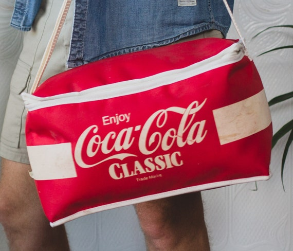 Vintage Coke Cooler Bag - Red and White Retro Coca Cola Soda Shoulder Bag - Small Travel bag for the Beach - Lunch Bag - Made in Canada