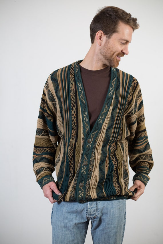 Vintage Coogi Style Cardigan - Striped Geometric Pattern Large Size Green and Yellow Christmas Button Acrylic Jumper for Him - Gift for Dad