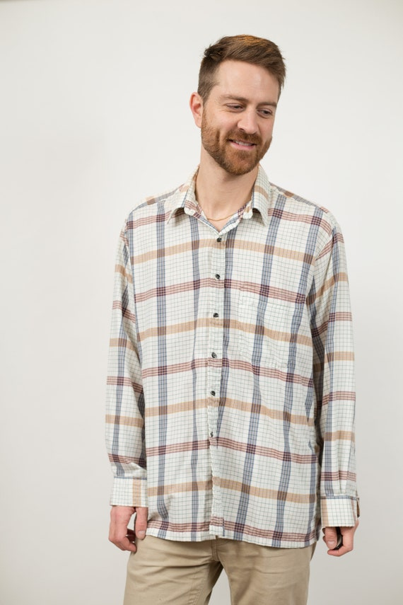 Vintage Men's Levis Shirt - Plaid Snap Button Western Style Shirt - Large Size Long Sleeved Cowboy Rodeo Southwest Shirt