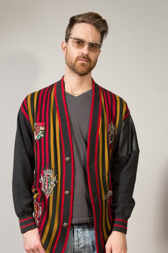Vintage Striped Sweater Cardigan - Men's Red Mustard and Grey Knit Button up with Embroidered Emblems and leather Arms