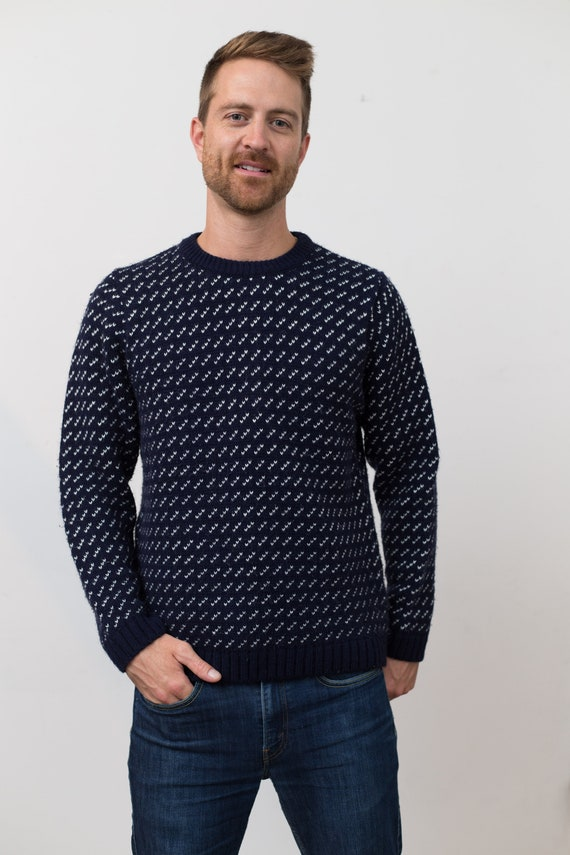 Medium Men's Sweater -Topman Blue and White Geometric Patterned Knit Pullover - Long Sleeved Jumper - Toronto British Fashion