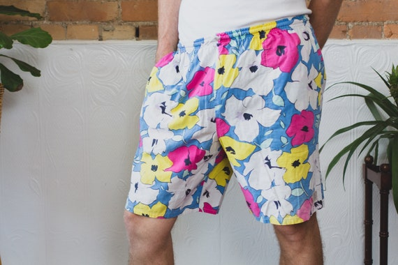 Vintage Beach Shorts - 80's Floral Surf Shorts with Elastic Waist - Hawaiian Aloha Men's Flower Shorts - Fresh Prince Vibes