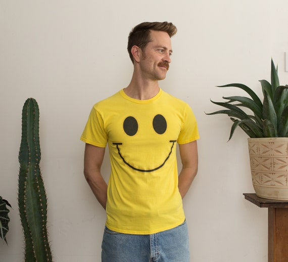 Vintage Smiley Face Shirt - Men's Small Size Yellow Smiling Emoji Tee