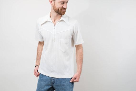 Vintage Mens MediumWhite Polo Shirt / Casual Short Sleeved Sporty Summer Beach Golf Jock Shirt with zipper