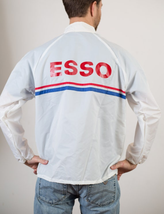 Spring Windbreaker - Vintage Thin White Esso Sports Racing Rain Coat - Large Retro Nylon Jacket