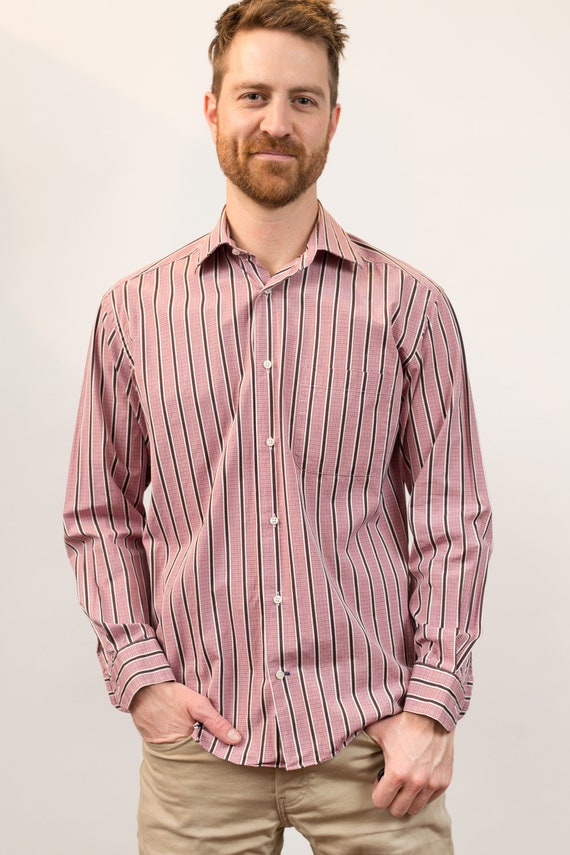 Vintage Men's Striped Shirt - Button Down Oxford Pink Harry Rosen Dressy Office Shirt - Medium Size Long Sleeved Pink Formal Summer Shirt