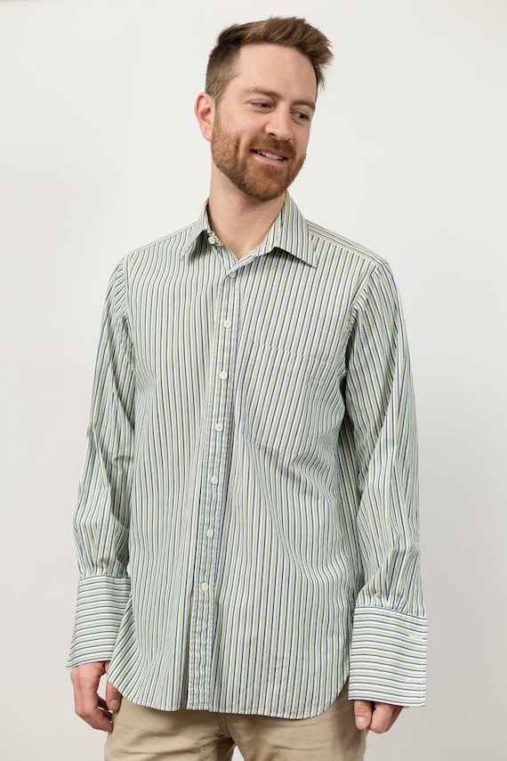 Vintage Men's Striped Shirt - Button Down Oxford Dress Shirt by J.P. Ilford - Large Size Long Sleeved Office Summer Shirt