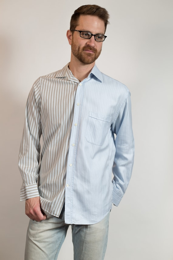Vintage Men's Dress Shirt - Split 2-tone Color Blocked Medium Size Blue Stripe Button up Shirt - Boho Modern Streetstyle Shirt