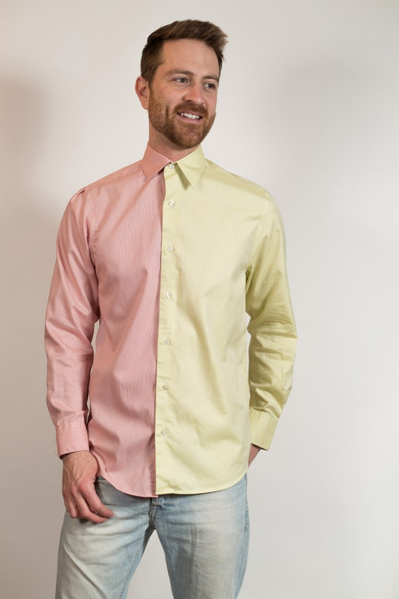 Vintage Men's Dress Shirt - Split 2-tone Color Blocked Medium Size chartreuse and Pink Button up Shirt - Boho Modern Streetstyle Shirt