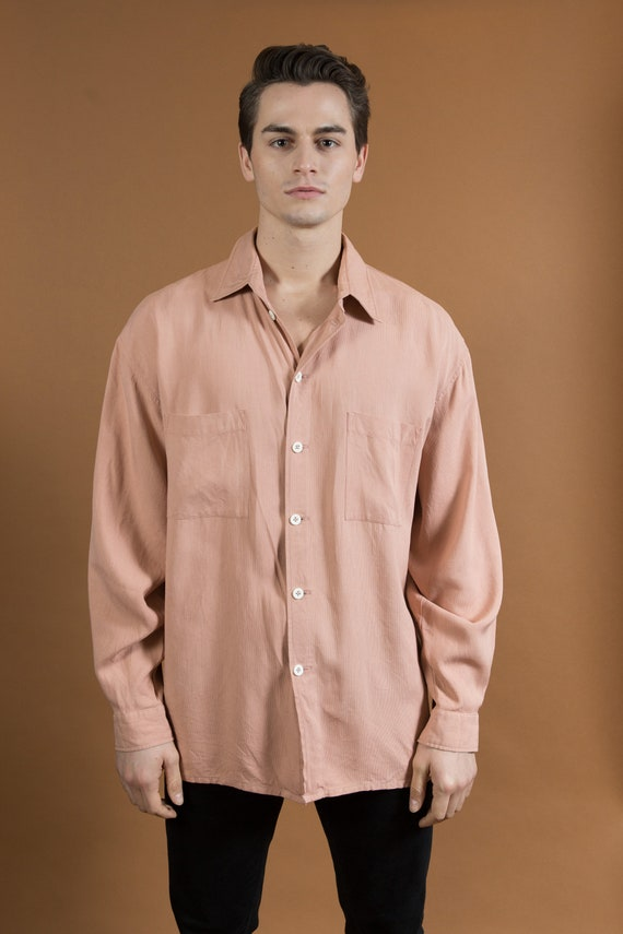 Men's Dusty Rose Shirt - XL Size Button Down Stripe Oxford Shirt - Long Sleeve Kimina Oversized Shirt