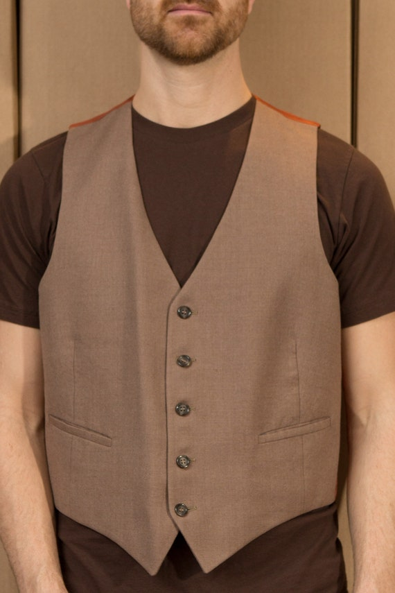 Vintage Men's Medium Size Tan Brown Geometric Vest - Casual Preppy Sporty Autumn Dressy office formal wedding vest