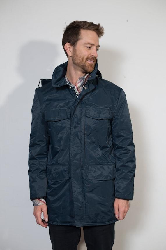Mens Blue Jacket - Vintage Trucker Style Nylon Jacket - Medium Snowmobiling / Skiing / Snowboarding Winter Coat