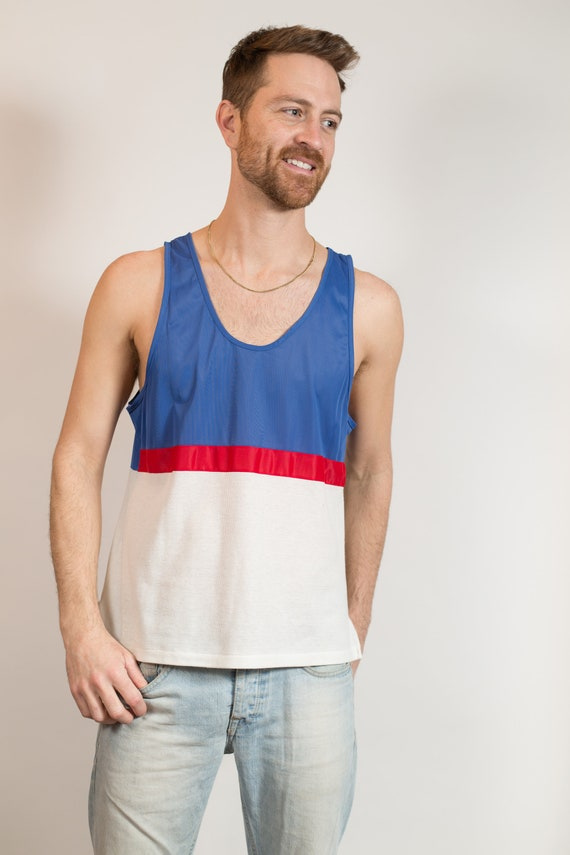 Vintage Mens Tank Top - Medium Size White , Blue and Red Color Block Volleyball Beach Shirt - Sporty Summer Beach Athletic Shirt