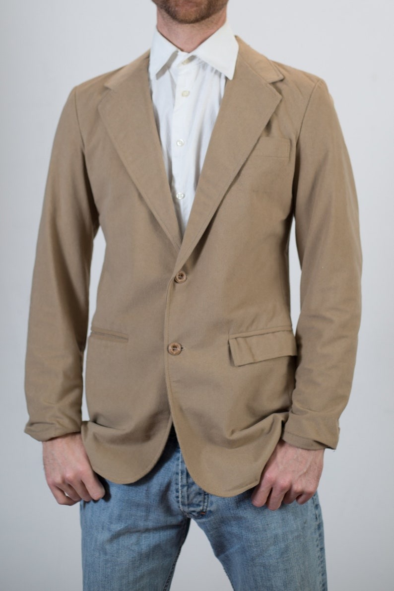 Retro Mens Sports Coat Vintage Beige Corduroy Blazer