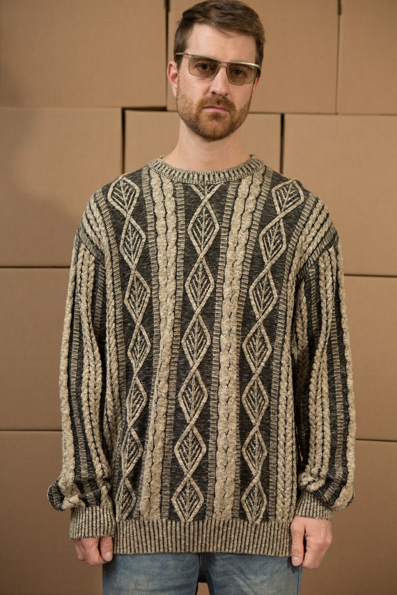 Vintage Earthy Sweater - Men's Foliate Knit - Unisex Men's Large SizeFancy Knit Pullover Crew Neck Jumper for Him - Christmas Dad Sweater