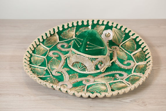 Vintage Sombrero - Large Green Velour Mexican Hat - Puerto Vallarta Hat - Mexican Food Restaurant Decor - Southwest Cowboy Hat