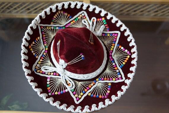 Vintage Sombrero - Large Black Velour Mexican Hat - Costeno hat - Puerto Vallarta - Mexican Food Restaurant Decor - Southest Cowboy Hat