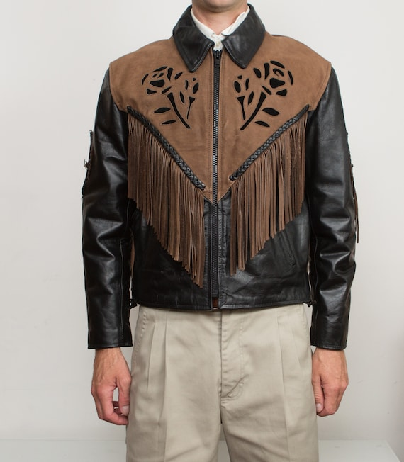 Vintage Leather Jacket with Rose Motifs - Men's Black Leather and Brown Suede Biker Motorcycle Jacket - Southwest Boho Cowboy Coat