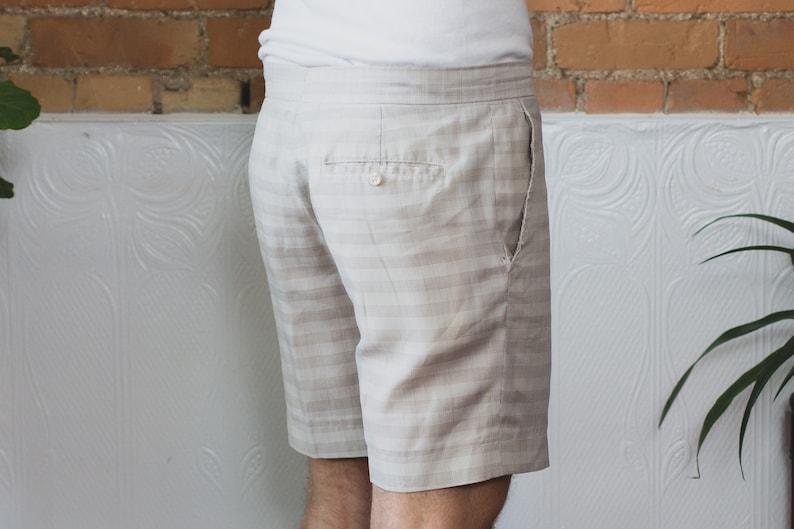 Vintage Grey Shorts Casual Preppy Dressy Office Summer Trunks Men/'s 34 Waist Size Striped Gray Pattern Shorts