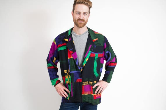 Vintage Fresh Prince Blazer / Abstract Pop Art Large Sports Jacket / 1980's Unisex Geometric Shapes Pattern Sports Coat