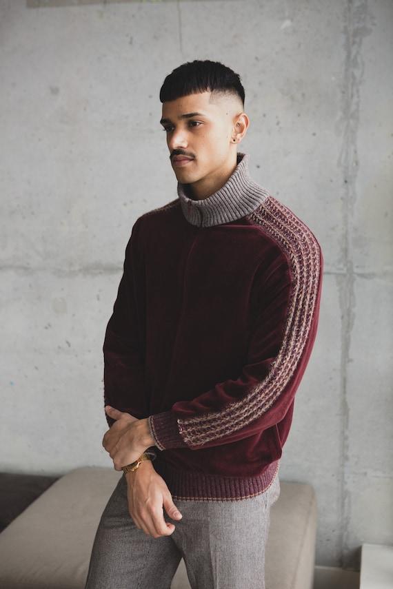Vintage Velour Sweater - Men's 70's Large Size Bur
