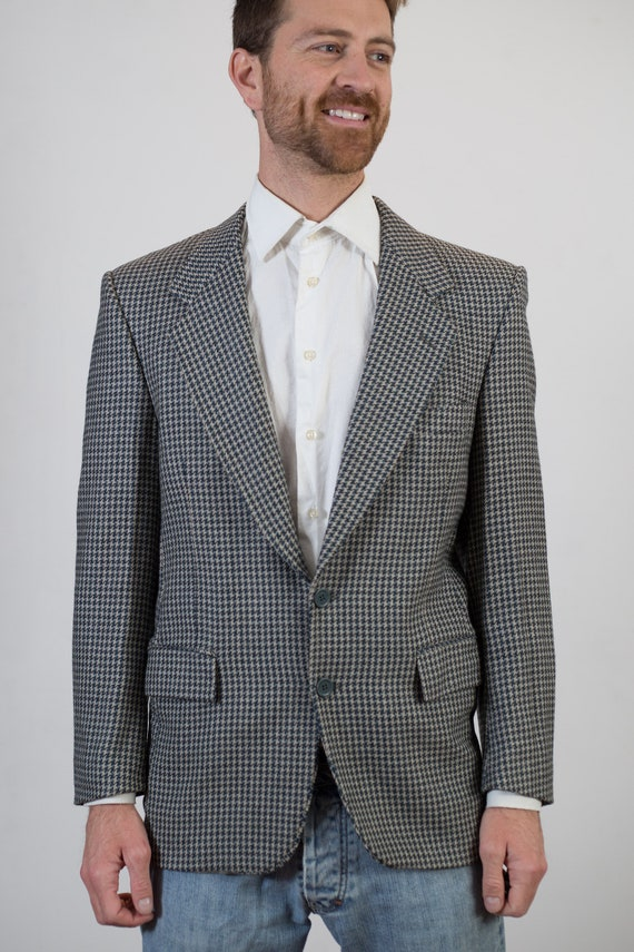 Vintage Houndstooth Blazer - Black and White Regular Fit Retro Mens Medium Size Sports Coat - Monochromatic Jacket