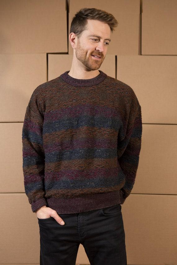 Vintage Multi-color Sweater - Chunky Horizontal Stripe Men's Earth Tone Knit - Medium Size Metallic Pullover Crew Neck Jumper for Him