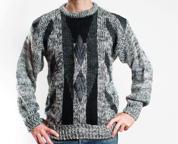 Vintage Black and Grey Sweater / Mens Geometric Pullover by Instinct / Made in Korea / Leather Diamond Patchwork