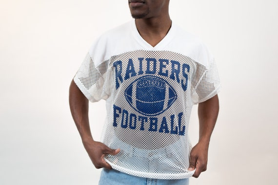 Vintage Mesh Football Jersey Shirt - Men's Medium White and Blue Raiders Sporty Athletic Tee - Vintage T-shirt - Made in USA