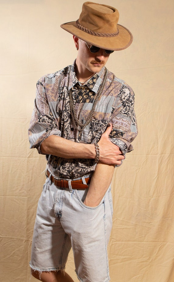 Vintage Abstract Shirt - 90's XL Size Men's Long S