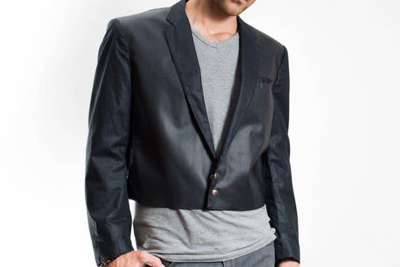 Vintage PVC Rubber Jacket / Mens Unisex Button Crop top Blazer / Party Attire