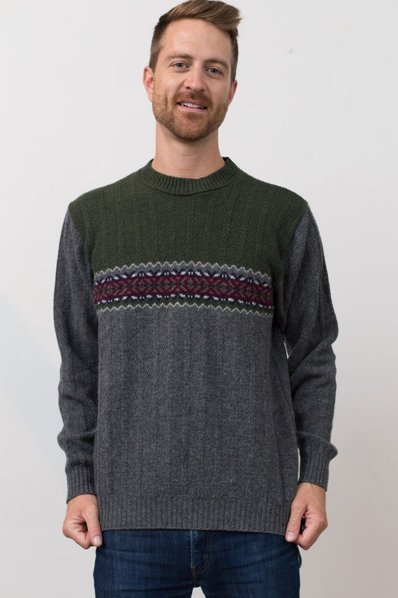 Vintage Men's Sweater -Northern Elements Green Geometric Patterned Knit Pullover - Long Sleeved Jumper - Toronto Unisex Fashion