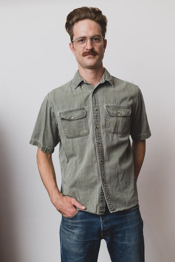 Vintage Men's Shirt - Pale Green RedHead Short Sleeved Shirt -Washed Denim Outdoor Lumberjack Shirt - Button up Camper