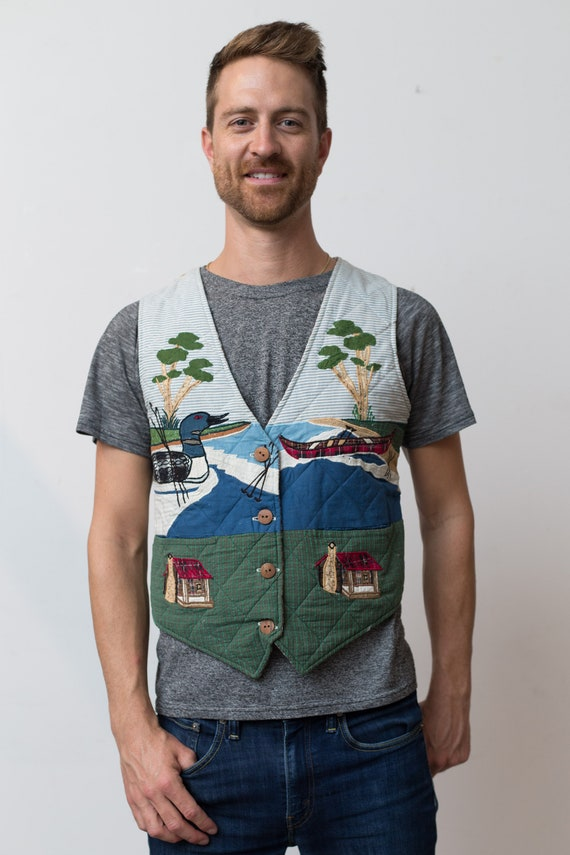 Reversible Country Vest - Medium Size Cottage Country Vest with Loons and Trees and Cabin - Christmas Button up Vest for Him